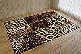 アニマル柄 ラグ マット サバンナ ウィルトン織り ブラック 約 160×225 cm 約 2.7畳