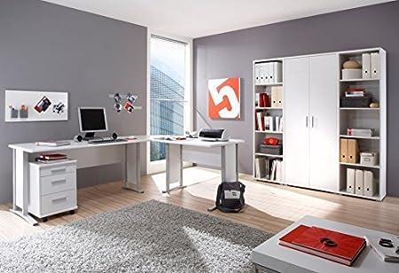 Arbeitszimmer komplett Buromöbel Komplettset in Weiß mit großem Schreibtisch / Winkelschreibtisch
