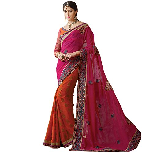 Red Angelnx Brocade & Georgette Saree (Kessi1404 _Pink & Red) (Multicolor)