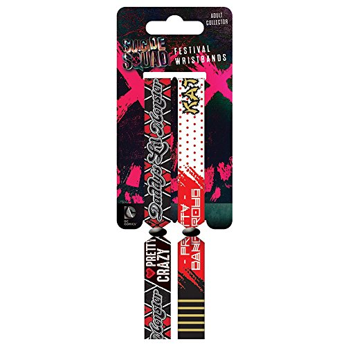 """DC FWR68069 """"Suicide Squad Harley Quinn Daddy's Lil Monster and Katana Double Festival"""" Wristband Set"""