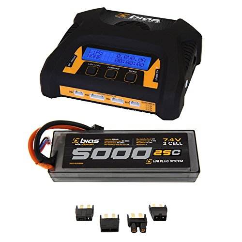 Bias 25C 5000mAh 7.4V LiPo Hard Case Battery and 2-4 Cell Charger Combo (EC3/Deans/Traxxas/Tamiya Plug) for RC Car, Truck, Buggy, Boat, Heli and Drone (3 Cell Lipo Battery Deans Plug compare prices)