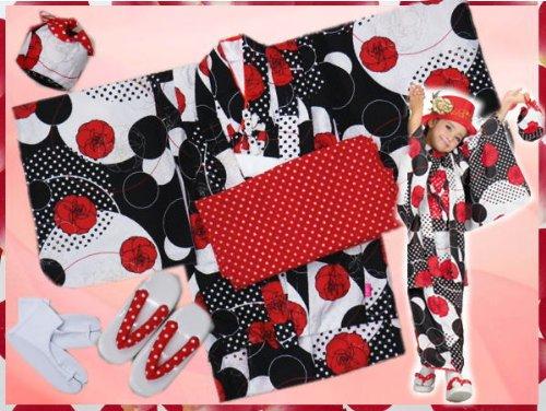 お正月&各記念日に子供(女の子)お仕立て上がり着物7点フルセット白黒赤薔薇ドット(M~LL)