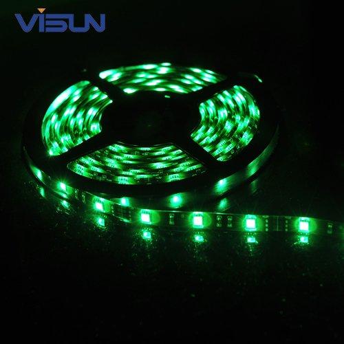 Visun Waterproof 5M 12V 150 Led 5050 Smd Flexible Led Light Lamp Strip With Visun Logo Rhinestone Hand Wrist Strap (Green, Black Pcb Board)