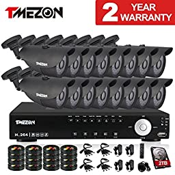 TMEZON NEW 16CH 1080N AHD Video DVR Security System 16 AHD 720P 130ft Super Night Vision 42 IR LEDs Indoor/Outdoor Security Camera Transmit Range P2P/QR Code with 2TB HDD