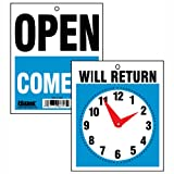 U. S. Stamp and Sign Come In/Open or Will Return Plastic Flip Sign with Clock Hands, 7.5 x 9 Inches (9382)