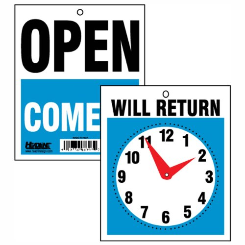 Headline Sign 9382 Double-Sided Open/Will Return Sign with Clock Hands, 7.5 Inches by 9 Inches (Headline Sign 9382 compare prices)