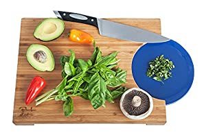 """Bamboo Cutting & Chopping Board, Unique Time-Saving Design Fits Plate Or Frying Pan! Love It Or You Don't Pay! Heavy Duty, Highest Quality Countertop Kitchen Carving Board, 15x11"""" -By Company"""