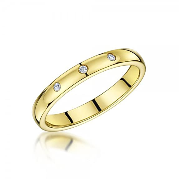 wedding ring 3mm 9ct yellow gold with diamonds