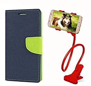 Aart Fancy Diary Card Wallet Flip Case Back Cover For Samsung 7262 - (Blue) + 360 Rotating Bed Tablet Moblie Phone Holder Universal Car Holder Stand Lazy Bed Desktop for by Aart store.