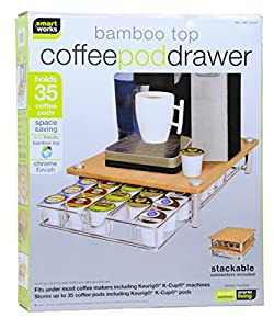 Bamboo Top Coffee Pod Drawer for Keurig Compatible Single Serve K-cups ~ Holds 35 K-cups