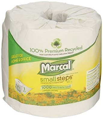 Marcal 4415 White Small Steps 100% Premium Recycled 1-Ply Bath Tissue Rolls, 1000 sheets (Case of 40)