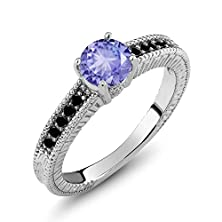 buy 1.07 Ct Round Blue Tanzanite Black Diamond 925 Sterling Silver Engagement Ring
