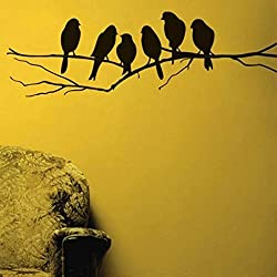 Asmi Collections PVC Wall Stickers Beautiful Black Sparrows on Branches