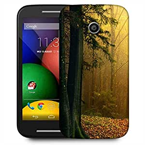 Snoogg Yellow Forest Designer Protective Phone Back Case Cover For Motorola E / Moto E