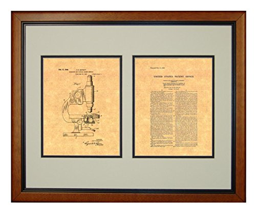 """Microscope And Counting Chamber Patent Art Print In A Honey Glazed Wood Frame (16"""" X 20"""")"""