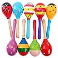 Pixnor 2ST 20cm Funny Kinder Kinder Maracas Rassel Shaker musikalische Bildungs Holzspielzeug (zuf�llige Farbe Muster)