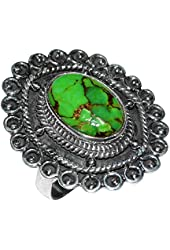 Xtremegems Green Copper Turquoise 925 Sterling Silver Ring Jewelry Size 8 JJ1685