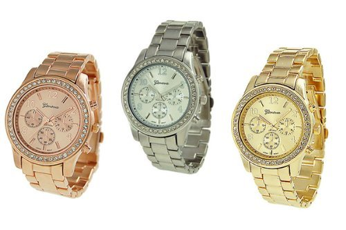 3 PACK Geneva Silver Gold and Rose Gold Plated Classic Round CZ Ladies Boyfriend Watch image
