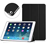 Apple iPad Air 2 Case - MoKo Ultra Slim Lightweight Smart-shell Stand Cover Case with Rubberized back for Apple iPad Air 2 (iPad 6) 9.7 Inch iOS 8 Tablet, BLACK (with Smart Cover Auto Sleep / wake)