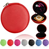 Magic Global Gadgets® - Red MP3 / Earphones / Headphones / iPod Shuffle / iPod Nano 6 / Apple Watch Sport / Memory Cards / Storage Bag / Gym Use / Universal Carrying Clamshell Pouch Case Cover