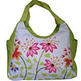 LARGE BEACH BAG Green With Multi Flowers (H)33cm x (W)51cm x (D)23cmby Beach Bag