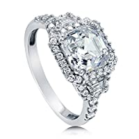 BERRICLE Sterling Silver Asscher Cut Cubic Zirconia CZ Halo Art Deco Womens Engagement Wedding Ring by BERRICLE