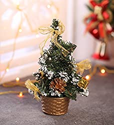 Decorated Artificial Golden Christmas Tree Showpiece- 7 inches
