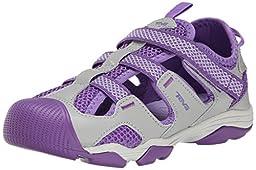 Teva Jansen Leather Kids Sport Shoe (Toddler/Little Kid/Big Kid), Grey/Purple, 1 M US Little Kid
