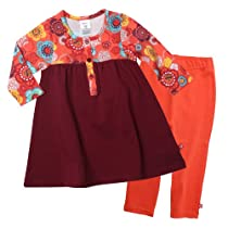 Zutano Girls 2-6X Doily Floral Henley Dress with Leggings Set, Multi, 3T