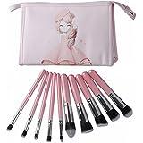 ClothoBeauty 10Pcs Premium Synthetic Kabuki Makeup Brush Set Kit Foundation Blending Powder Blush Eye Shadow Cosmetic...