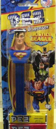 Justice League SUPERMAN PEZ Dispenser with 3 Pack Candy Refill on Blister Card by Pez Candy (Kiss Pez Dispensers compare prices)