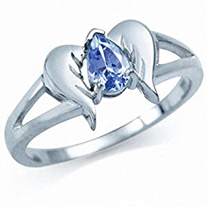 Natural Tanzanite 925 Sterling Silver Angel Wings Ring Size 6