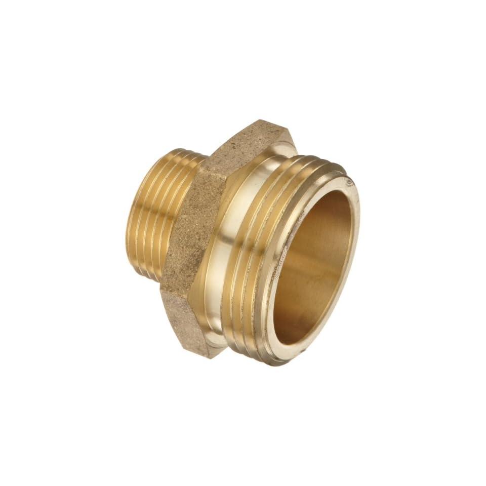 Moon 358 1061521 Brass Fire Hose Adapter, Nipple, 1 NPT Male x 1 1/2 NH Male