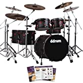 ddrum Hybrid 6-Piece Acoustic/Electric Black/Red Drum Set - Includes Foot Pedal & Survival Guide