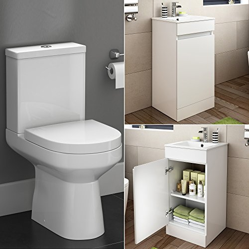 Inspirational iBathUK Modern White Gloss Toilet Basin Vanity Unit Bathroom Storage Cabinet BS
