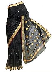 DollsofIndia All-Over Golden Zari Boota On Black Chanderi Saree With Zari Border And Pallu - Cotton Silk - Black...