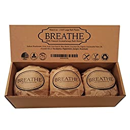 Breathe Bath Bomb Gift Set - Therapeutic Respiratory Blend - 3 Extra Large, 2 3/4 6.0 Oz. Fizzies by Natural Spa Bath
