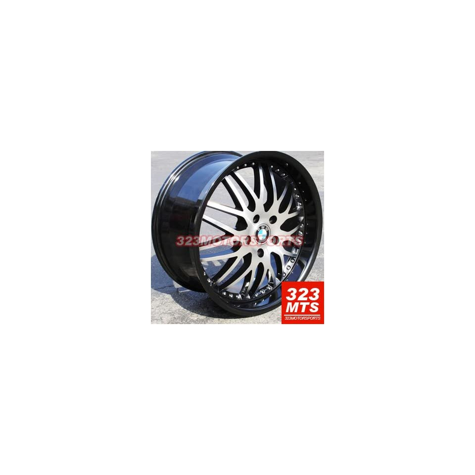 D746 19X8.5 19x9.5 BMW 3 5 Series 325i 328i 525i 530i 535i Staggered Wheels Rims Black Machine Lip 4pc 1 set