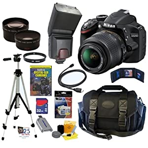 Nikon D3200 24.2 MP CMOS Digital SLR Camera (Black) with 18-55mm f/3.5-5.6 AF-S DX VR NIKKOR Zoom Lens + Automatic TTL Flash + Telephoto & Wide Angle Lenses + 32GB Deluxe Accessory Kit