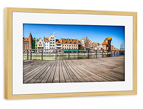 artboxone-poster-mit-rahmen-75x50-cm-stadte-panorama-of-gdansk-old-town-and-motlawa-river-in-poland-