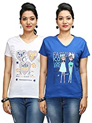 Flexicute Women's Printed V-Neck T-Shirt Combo Pack (Pack of 2)- White & Royal Blue Color. Sizes : S-32, M-34, L-36, XL-38