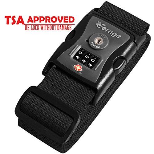 Adjustable Nylon Long Travel Luggage Strap Belt with TSA Approved Locks