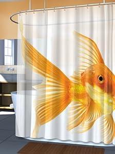 Catalina Goldzilla Giant Goldfish Peva Vinyl Shower Curtain Kitchen Home