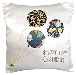 3dRose pc_161951_1 Happy 10th Birthday - Modern Stylish Floral Balloons. Elegant black Brown Blue 10 Year Old Bday - pillow Case, 16 by 16