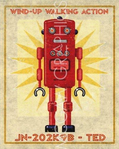 (11X14) John W Golden Ted Box Art Robot Art Print Poster Art Poster Print By John Golden, 11X14