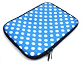 Emartbuy® Polka Dots Blue / White Water Resistant Neoprene Soft Zip Case/Cover suitable for Wacom Bamboo Pen Graphics Tablet ( 10-11 Inch eReader / Tablet / Netbook )