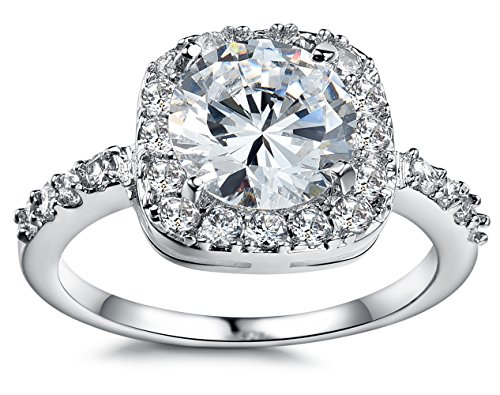 Olen White Gold Plated Cubic Zirconia Diamond Engagement Rings for Women (Ring 6)
