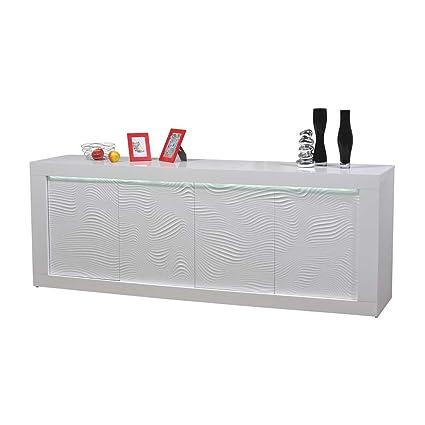 Design Sideboard mit LED Beleuchtung Hochglanz Weiß Pharao24