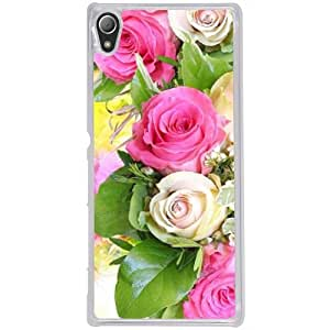 Casotec Rose Flowers Design 2D Hard Back Case Cover for Sony Xperia Z4 - Clear