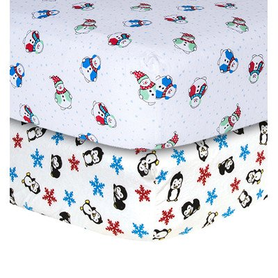 Snowman and Penguin Print Flannel 2 Piece Crib Sheet Set